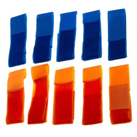 Lot 10 Brassards Velcro (Team Patch) Équipe Orange & Bleu