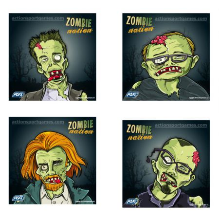 Lot 100 Cibles Carton 14x14 cm Zombie Nation - ASG - 18190