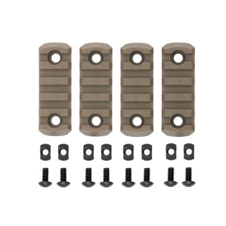 Lot 4 Rails Picatinny Polymère pour Garde-Main M-Lok 5 Slots - Tan