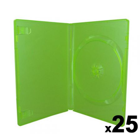 Lot de 25 boitiers Vert Translucide CD / DVD / Jeux Video Xbox 360