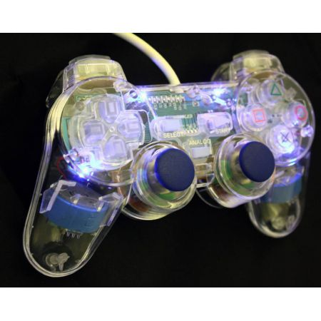Manette Console Sony Ps2 Flash Light (Transparente avec LEDs Bleu) Analogique Vibrante - ACJ1124