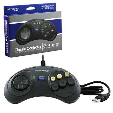 Manette Sega Megadrive Genesis 6 Boutons USB Pour PC Windows & MAC - RB-PC-7017
