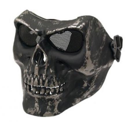 Masque Integral Rigide Skull Tête de Mort Airsoft - Silver Black