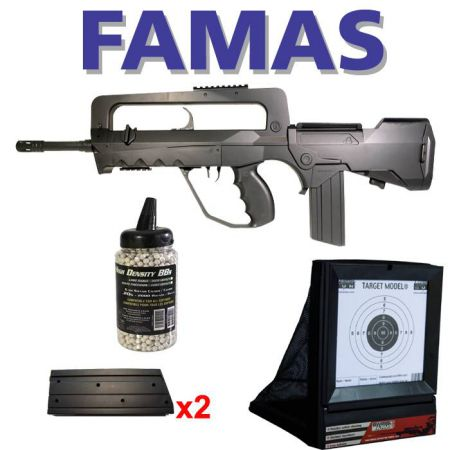 Pack Famas F1 Spring (400700) + 2 chargeurs 45 billes (405000) + Cible Avec Filet (603404) + Biberon 2000 Billes 0.20g (712020)