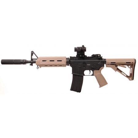 Pack Fusil A&K M4 MOE Magpul CQB AEG Full Metal + Red Dot Micro T1 + Silencieux + Batterie 9.6v – 1600mAh + Chargeur + 4000 Billes 0.25g
