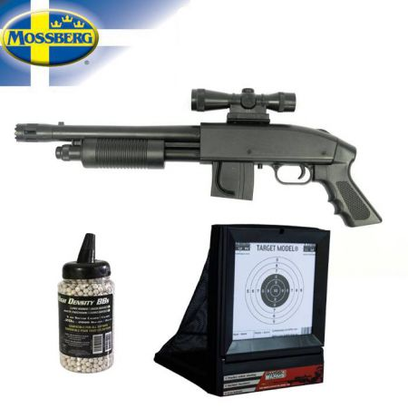 Pack Fusil à Pompe Mossberg 590 Grip Model (270706) + Cible Avec Filet (603404) + Biberon 2000 Billes 0.20g (712020)