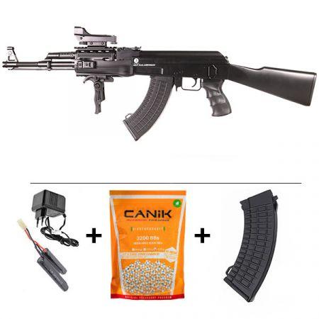 Pack Fusil Ak47 AEG Kalashnikov Tactical Noir (120944) + Red Dot + Sangle + Poignée Verticale Pliante + Sachet 4000 Billes 0.25g