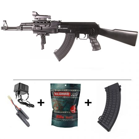 Pack Fusil Ak47 AEG Kalashnikov Tactical Noir (120944) + Red Dot + Sangle + Poignée Verticale + Sachet 4000 Billes 0.25g