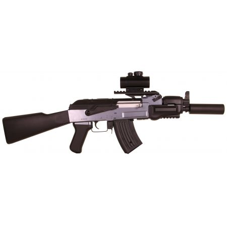Pack Fusil AK47 Beta Spetsnaz AEG Noir+ Red Dot + Rail Picatinny + Sangle + Sachet 4000 Billes 0.25g