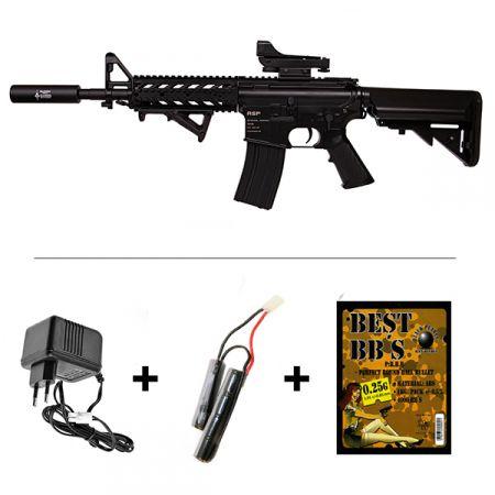 Pack Fusil ASP M4 Raider CQB AEG (Electrique) CM517 Noir + Red Dot + Silencieux + Poignée Angulaire + Sachet 4000 Billes 0.25g