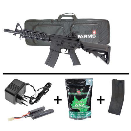 Pack Fusil Colt M4 CQB CQBR RIS AEG Electrique (180839) + Housse de Transport + Sachet 5000 Billes 0.20g BIO