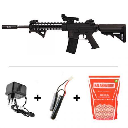 Pack Fusil Colt M4 Special Forces AEG Noir (180861) + Red dot + Silencieux + Poignée Angulaire + Sachet 4000 Billes 0.25g