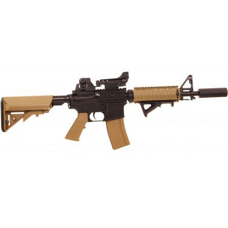 Pack Fusil Colt M4A1 CQBR AEG Dark Earth (180834) + Red Dot + Silencieux + Poignée Angulaire + Sachet 4000 Billes 0.25g