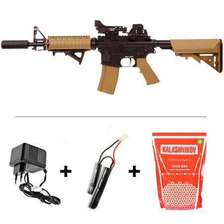 Pack Fusil Colt M4A1 CQBR (M4 A1) Dark Earth AEG (180834) + Red Dot + Silencieux + Poignée Verticale Pliable + 2 Chargeurs 300 Billes + Sachet 4000 Billes 0.25g
