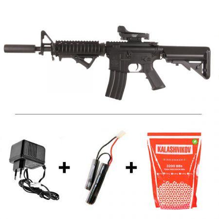 Pack Fusil Colt M4A1 CQBR (M4 A1) Noir AEG (180833) + Red Dot + Silencieux + Poignée Verticale + 2 Chargeurs 300 Billes + Sachet 4000 Billes 0.25g