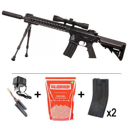 Pack Fusil Colt M4A1 DMR Keymod AEG Full Metal (180840) + Lunette de visée 4x32 + Silencieux + Bipied + 2 Chargeurs 300 Billes + Sachet 4000 Billes 0.25g