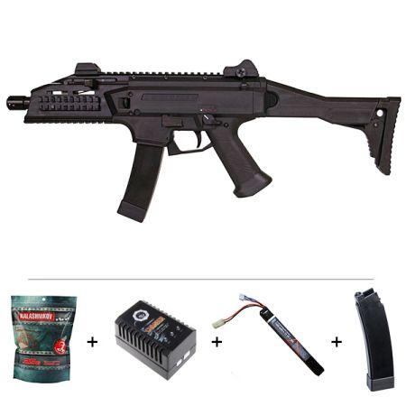 Pack Fusil CZ Scorpion EVO 3A1 AEG ASG (17831) + Batterie LiPO + Chargeur + 2 Chargeurs + 4000 Billes 0.25g AEG