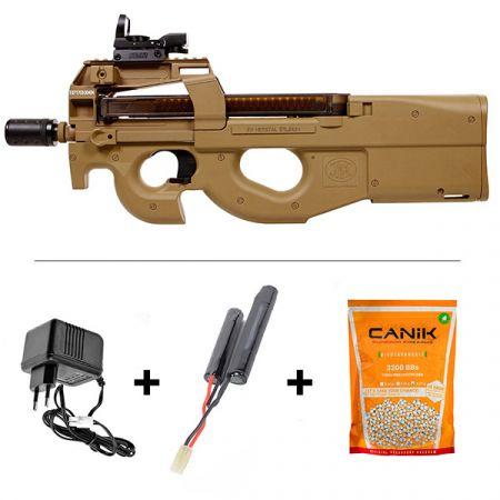Pack Fusil FN Herstal P90 AEG TR FDE (200956) + Red Dot Tube 1x30 + Silencieux + Batterie 9.6v - 1100mAh + Chargeur + Sachet 5000 Billes 0.20g