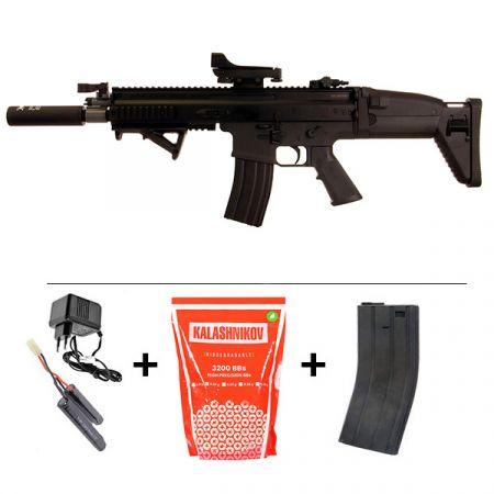 Pack Fusil FN Herstal SCAR-L AEG Sportline Noir 200961 + Red Dot + Silencieux + Poignée Angulaire + Sachet 4000 Billes 0.25g