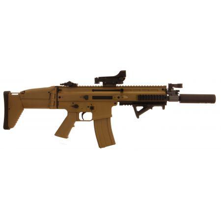 Pack Fusil FN Herstal SCAR-L AEG Sportline Tan (200962) + Red Dot Comp M2 + Silencieux + Poignée Angulaire + Sachet 4000 Billes 0.25g