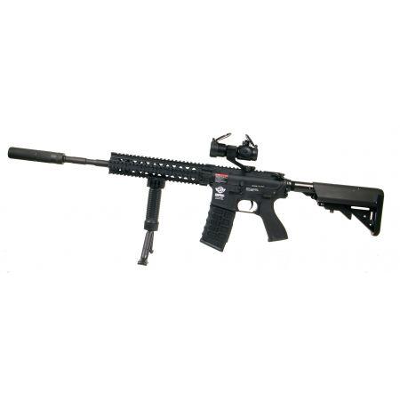 Pack Fusil G&G CM16 R8-L AEG Noir + Red Dot Comp M2 + Silencieux + Poignée Angulaire + Batterie NiMH 9.6v - 1600mAh + Chargeur + Sachet 4000 Billes 0.25g