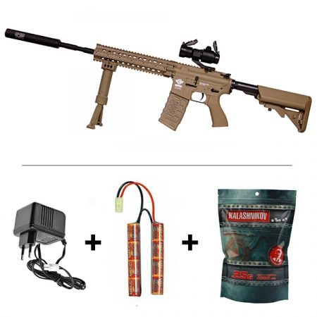 Pack Fusil G&G CM16 R8-L AEG Tan + Red Dot Comp M2 + Silencieux + Poignée Verticale avec Bipied + Batterie NiMH 9.6v - 1600mAh + Chargeur + Sachet 4000 Billes 0.25g