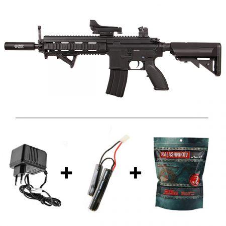 Pack Fusil HK416 AEG Sports Line S&T Noir + Red dot + Silencieux + Poignée Angulaire + Sachet 4000 Billes 0.25g