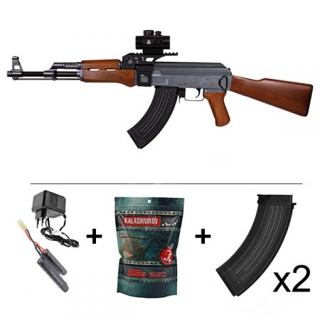 Pack Fusil Kalashnikov AK47 Full Metal AEG (120903) + Red Dot + Rail Picatinny + Sangle + 2 Chargeurs 550 Billes + Sachet 4000 Billes 0.25g