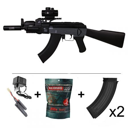Pack Fusil Kalashnikov AK47 Spetsnaz Beta AEG (120913) + Red Dot + Rail Picatinny + Silencieux + Sangle + 2 Chargeurs 550 Billes + Sachet 4000 Billes 0.25g