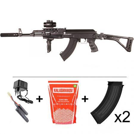 Pack Fusil Kalashnikov AK47 Tactical V2 AEG (120909) + Red Dot + Silencieux + Poignée Verticale Pliante + 2 Chargeurs 550 Billes + Sachet 4000 Billes 0.25g
