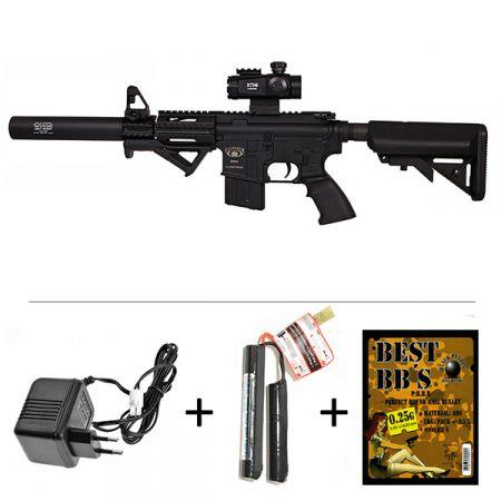 Pack Fusil M4 M15 CQB AEG BlackWater BW15 Ultra Compact (250908) + Red Dot Tube 1x35 + Silencieux + Poignée Angulaire + Sachet 4000 Billes 0.25g