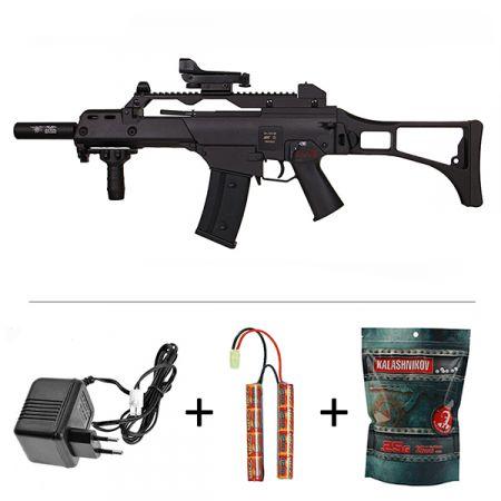 Pack Fusil SLV36 ASG JG Type HK G36 G36C AEG Noir (15910) + Red Dot + Silencieux + Poignée Verticale + Sachet 4000 Billes 0.25g