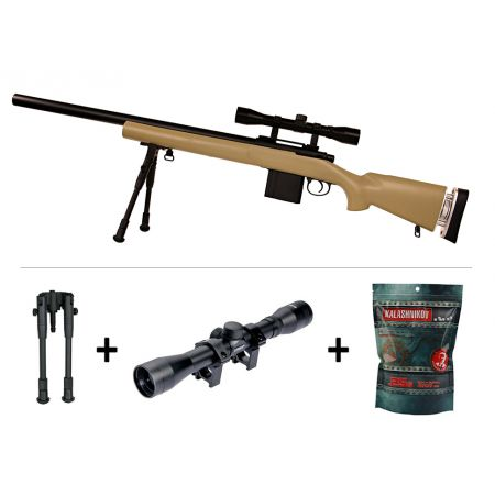 Pack Fusil Sniper L96 SAS04 Spring Swiss Arms Tan (280733) + Lunette de Visée 4x32 + Bipied + Sachet 4000 Billes 0.25g