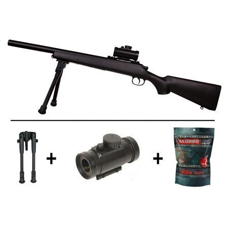 Pack Fusil Sniper M52 Tactical Spring Double Eagle Noir + Lunette point rouge + Bi-pied + Sachet 4000 Billes 0.25g