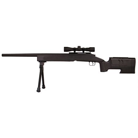 Pack Fusil Sniper McMillan M40A3 Spring ASG Noir (18556) + Lunette de Visée 4x32 + Bipied + Sachet 4000 Billes 0.25g