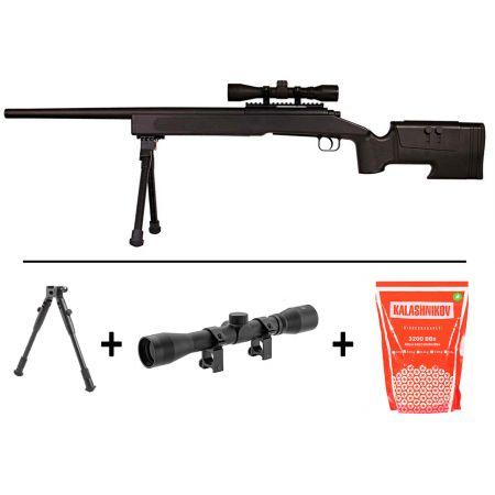 Pack Fusil Sniper McMillan M40A3 Spring ASG Noir (18556) + Lunette de Visée 4x32 + Bipied