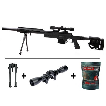 Pack Fusil Sniper MSR SAS10 Spring Swiss Arms (280734) + Lunette 4x32 + Bipied + Sachet 4000 Billes 0.25g