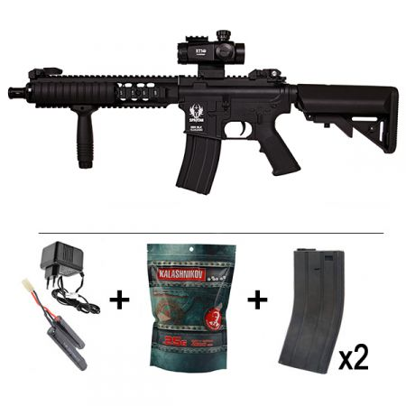Pack Fusil Spartan A&K Delta M4 SX18 MOD 1 AEG Full Metal (680908) + Red Dot Tube 1x35 + Poignee Verticale + 2 Chargeurs + Sachet 4000 Billes 0.25g