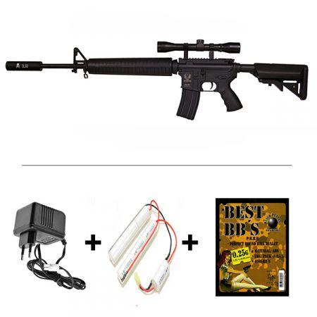Pack Fusil Spartan A&K M16 Delta SX16A3 AEG (680907) + Lunette de visée 4x32 + Silencieux + Chargeur + Batterie + Sachet 4000 Billes 0.25g