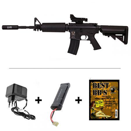Pack Fusil Spartan A&K M4 A1 Delta S4A1 AEG Noir (680900) + Red Dot + Silencieux + Batterie + Chargeur + Sachet 4000 Billes 0.25g