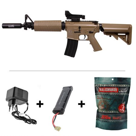 Pack Fusil Spartan A&K M4 A1 Delta SX33 AEG Tan (680904) + Red Dot + Rail Picatinny Carry Handle + Silencieux + Batterie + Chargeur + Sachet 4000 Billes 0.25g