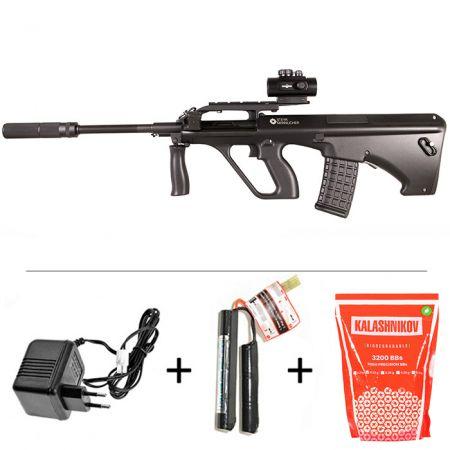 Pack Fusil Steyr Mannlicher AUG A2 AEG ASG JG Noir (17355) + Red Dot Comp M2 + Silencieux + Sachet 4000 Billes 0.25g