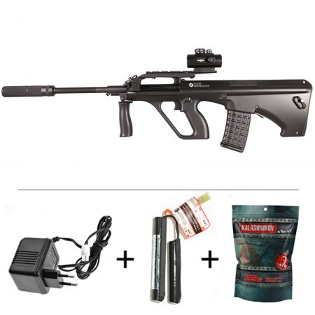 Pack Fusil Steyr Mannlicher AUG A2 AEG ASG JG Noir (17355) + Red Dot + Silencieux + Sachet 4000 Billes 0.25g