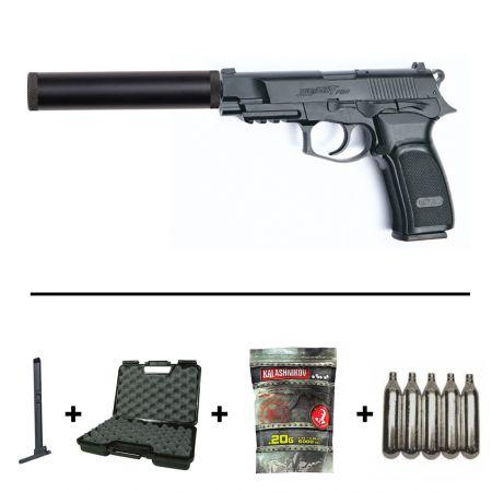 Pack Pistolet Bersa Thunder 9 Pro CO2 (17309) + Silencieux 110x20mm (15924) + 2 Chargeurs (17311) + 5 Cartouches CO2 + Mallette (MAL2) + Sachet 1000 Billes Q-Bullet 0.20g