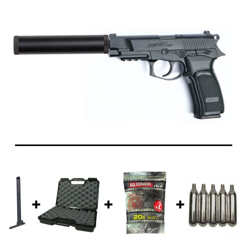 Pack Pistolet Bersa Thunder 9 Pro CO2 (17309) + Silencieux + 2 Chargeurs +  5 Cartouches CO2 + Mallette de Transport + 5000 Billes 0 20g