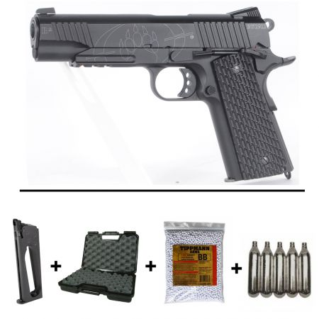 Pack Pistolet CO2 BlackWater BW 1911 R2 Full Metal (250503) + 2 Chargeurs + 5 Cartouches Co2 + Malette de Transport + Biberon 2000 Billes 0.20g