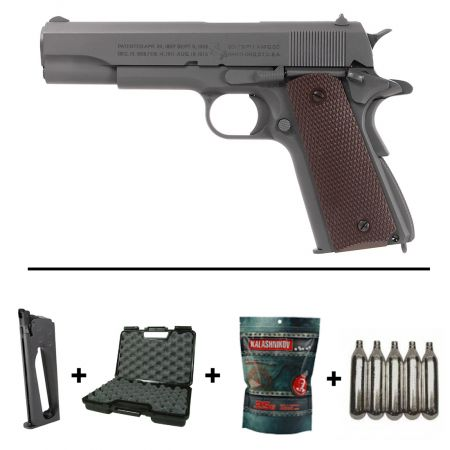 Pack Pistolet Colt 1911 M1911 A1 Co2 GBB Blowback Parkerized Full Metal (180532) + 2 Chargeurs + 5 Cartouches Co2 + Mallette de Transport + Biberon 2000 Billes 0.20g