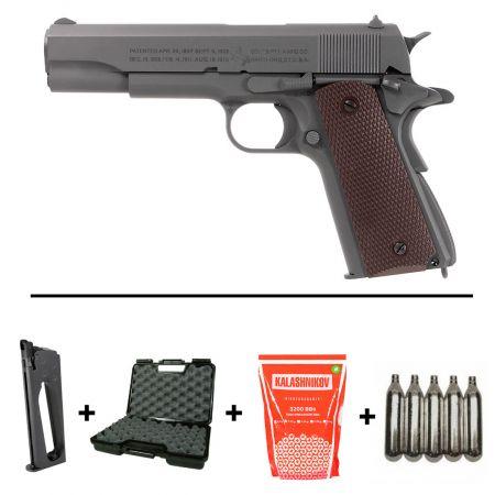 Pack Pistolet Colt 1911 M1911 A1 Co2 GBB Blowback Parkerized Full Metal (180532) + Silencieux + 5 Cartouches Co2 + Mallette de Transport + 5000 Billes 0.20g