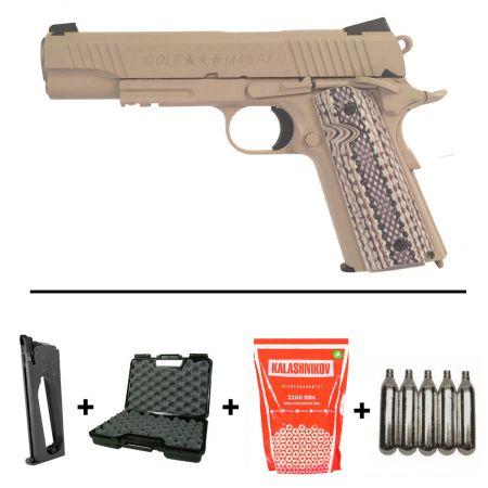Pack Pistolet Colt 1911 M45 A1 Rail Gun Co2 TAN (180521) + 2 Chargeurs + 5 Cartouches Co2 + Malette de Transport + Biberon 2000 Billes 0.20g