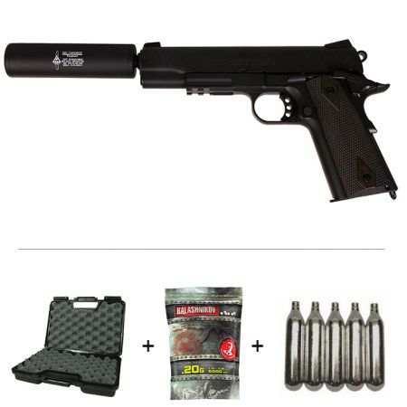 Pack Pistolet Colt 1911 Rail Gun Blackened Co2 (180524) + Silencieux + 5 Cartouches Co2 + Mallette de Transport + 4000 Billes 0.20g